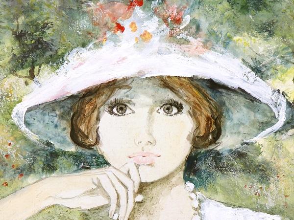ベルナール・シャロワ 原画 油彩画8号 真作保証 婦人 花飾りの帽子と真珠の首飾り 7月30日(日)終了 オリジナル 美少女 美人画 女性像 油絵