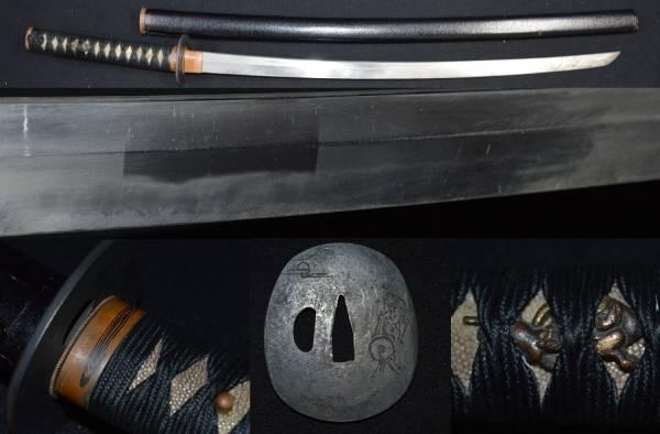 拵え付きの御刀・研ぎ用 乱れ刃紋の足入り鍛え良し!!初出しの刀・居合や抜刀に・片切彫馬の図鍔・素銅縁頭