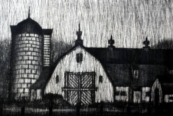 清水敦 銅版画 『黒沢牧場』 1966年作_画像3
