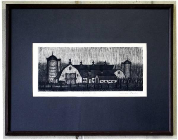 清水敦 銅版画 『黒沢牧場』 1966年作_画像2