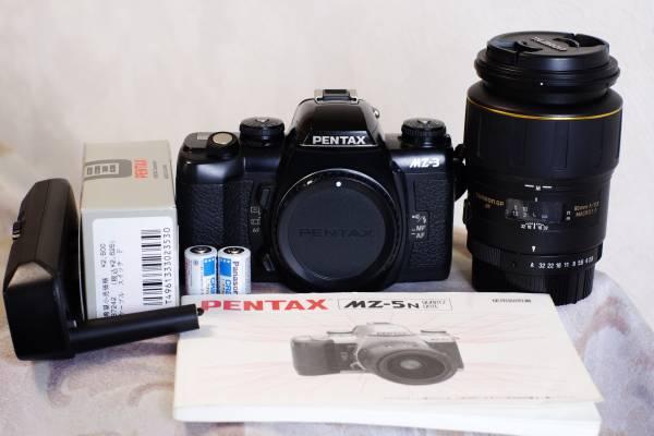 ペンタックスMZ-3 単三電池パックFG タムロンSP SF90mmF2.8美品レンズ の3点セット