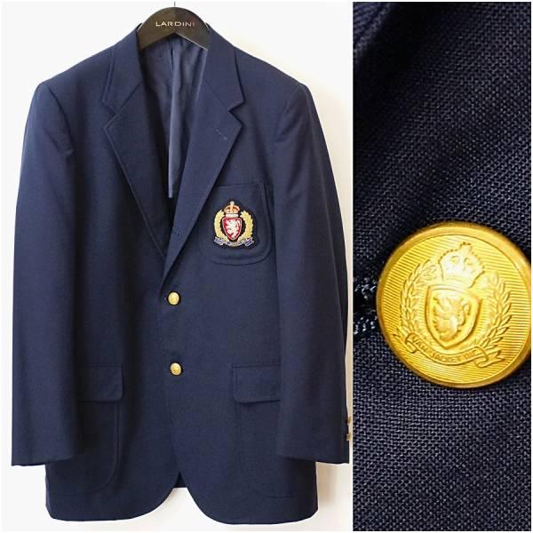 ◆美品 【 VAN JAC 】 エンブレム付き 金ボタン 紺ブレザー ジャケット A6 メンズM-L ヴ