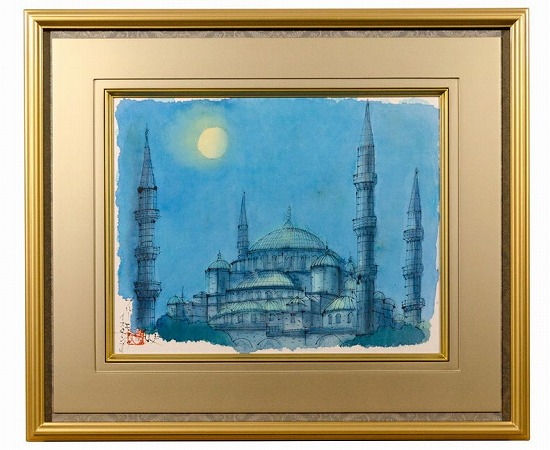 真作保証 平山郁夫 6号『ブルーモスク イスタンブール』トルコ 素描 肉筆 共シール 名作 代表作
