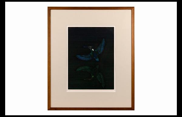 真作保証 加山又造 銅版画【 翡翠 】1987年作 肉筆サイン 限定195部_画像1