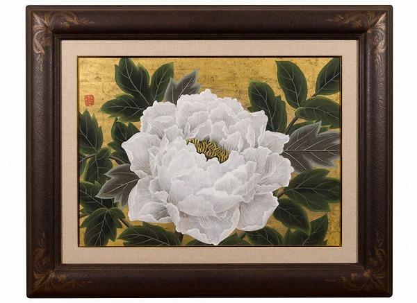 真作保証 小泉淳作『金箔牡丹』額装 8号 共シール 肉筆 日本画