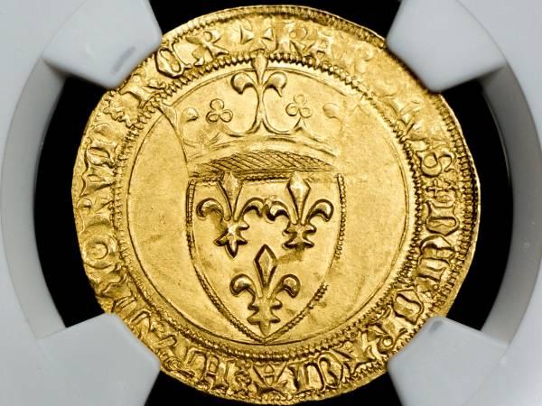 フランス ECU'OR MS62 エキュドール金貨 シャルル6世 1380-1422 未使用品 NGC WINGSゴー