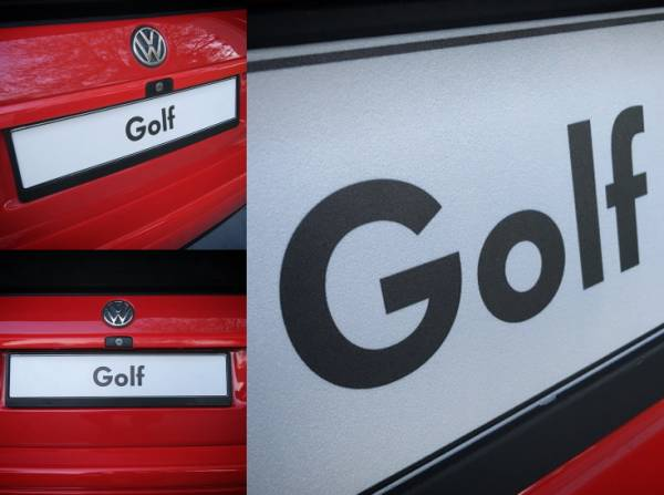 VW ゴルフ フォルクスワーゲン ディーラープレート  ユーロサイズ ゴルフ1 ゴルフ2 ゴルフ3 ゴルフ4 ゴルフ5 ゴルフ6 ゴルフ7 USDM EURO_雰囲気、質感確認用です。