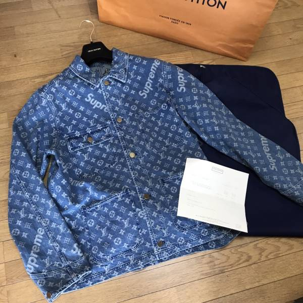 国内正規品 17AW Supreme LOUIS VUITTON Jacguard Denim Chore coat ルイヴィトン シュプ