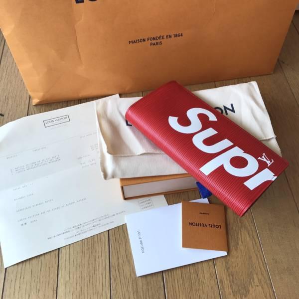 国内正規品 17AW Supreme Louis Vuitton 二つ折り長財布 エピ Epi シュプリーム ルイヴ