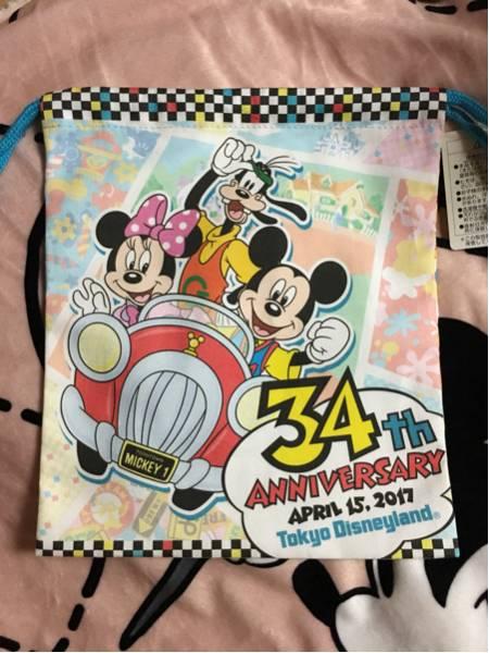 東京ディズニーランド 34周年 巾着 きんちゃく ミッキー ミニー グーフィー トゥーンタウン 34th ディズニーグッズの画像