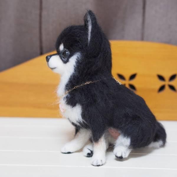 羊毛フェルト 犬 チワワ ブラックタン ハンドメイド_画像2