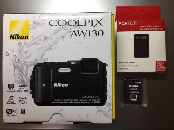 【新品同様】Nikonニコン COOLPIX AW130 ブラック@新品純正バッテリー&インジケーター付充電器セット