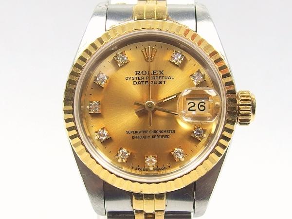1円~●ROLEX ロレックス デイトジャスト 69173 E番 K18YG×SS コンビ 10Pダイヤ 自動巻き レディース 腕時計●