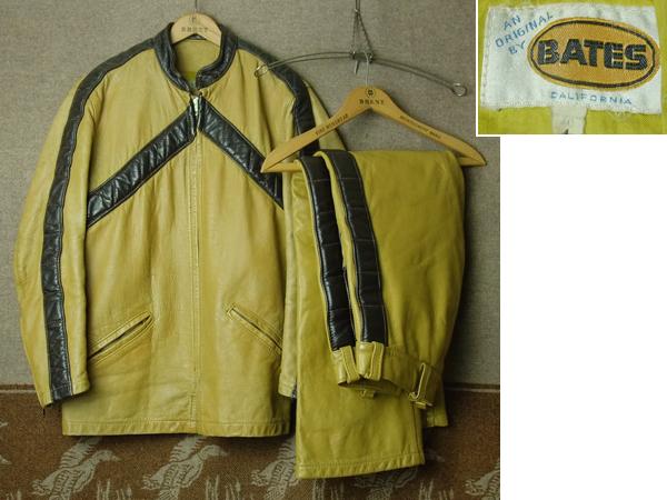 上下セット/BATES ベイツ/70s ライダース ジャケット パンツ★ビンテージ レーシング レザー ハーレー BUCO BECK 好きに USA古着 50s60s80s_画像1
