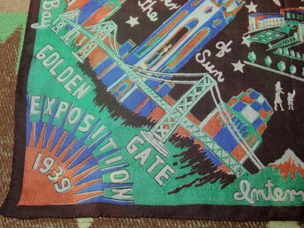シルク/1939 SFワールドフェア/30s スカーフ バーガンディ★ビンテージ アンティーク バンダナ ハンカチ レーヨン USA 古着 大戦 40s50s60s_画像1