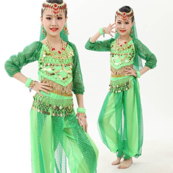 子供服6点セット ベリーダンス 衣装 インドダンス  民族衣装 ジャスミン アラジン アラビアン 仮装  ディズニーグッズの画像