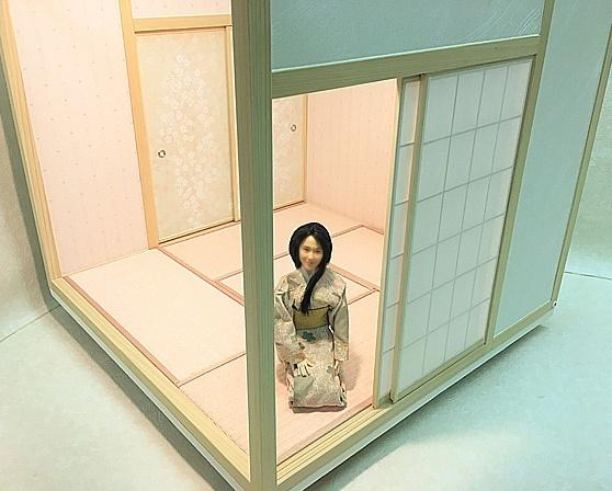 ドールハウス 和室 和風 畳部屋 1/6 サイズ 組立式 ピンク 桜 日本間。ブライス momoko リカちゃん バービーのミニチュア人形装飾撮影等