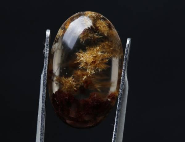 【古憶】★高品質 タイチン花ルチルクォーツ 裸石 ルース ブラジル産 小太陽のような内包物はキラキラして2.6g/5#_画像2