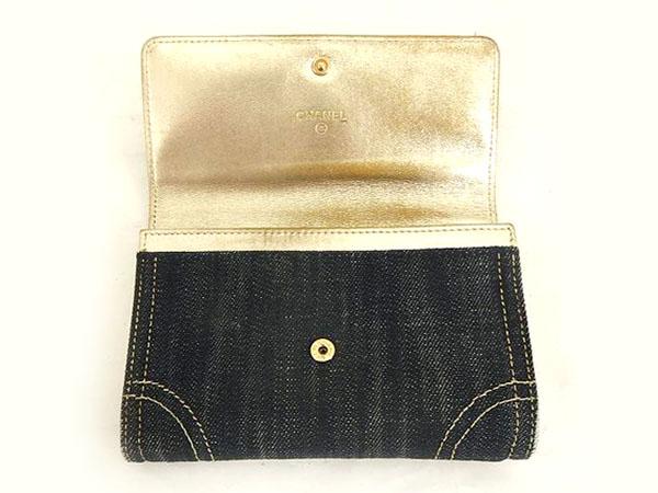 1円 シャネル 二つ折り デニム 財布 ブラック HS172_画像3