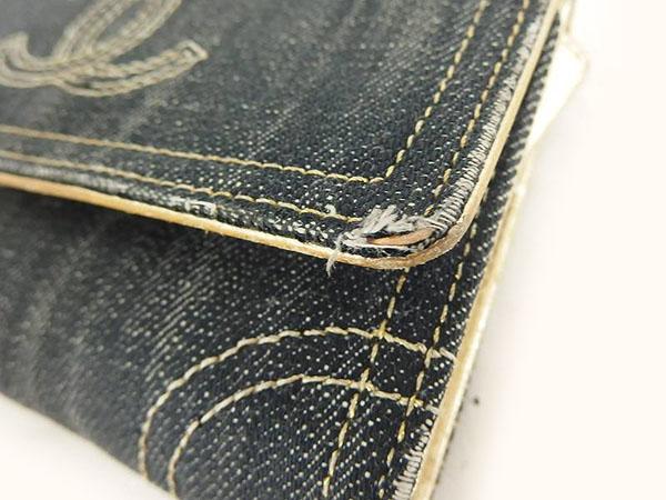 1円 シャネル 二つ折り デニム 財布 ブラック HS172_画像8