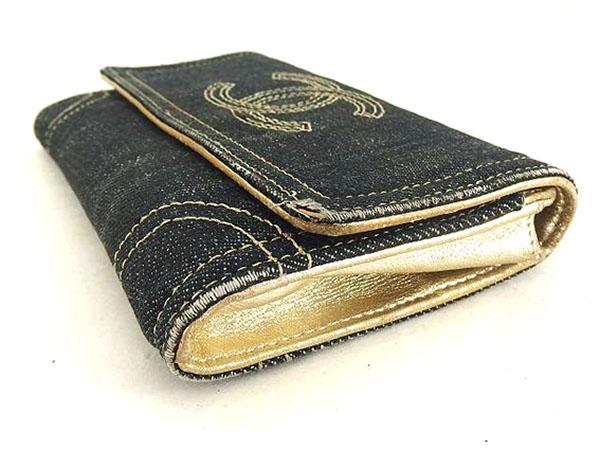 1円 シャネル 二つ折り デニム 財布 ブラック HS172_画像7