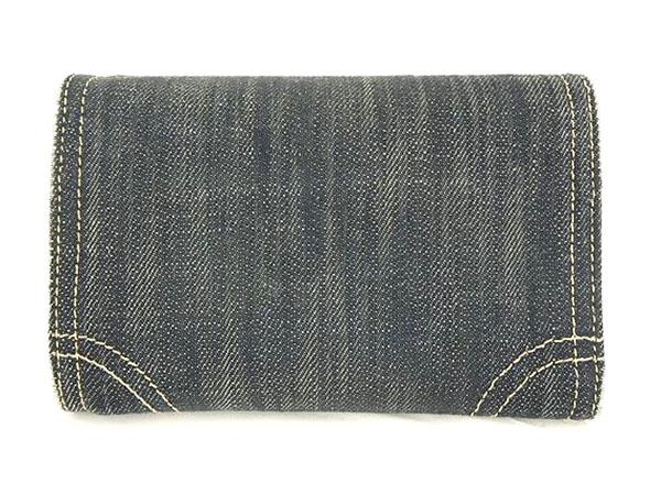 1円 シャネル 二つ折り デニム 財布 ブラック HS172_画像2