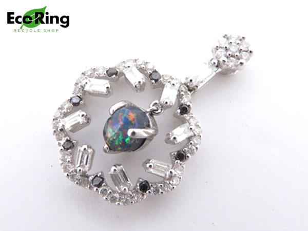 1円 美品 K18WG ボルダーオパール×ダイヤ デザイン ペンダントトップ HG733