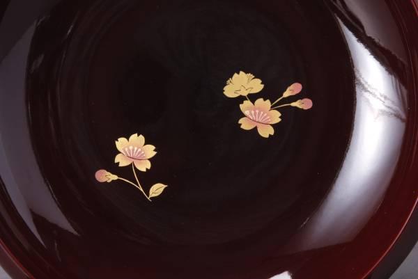 会津塗 特選 太渕 溜桜 菓子鉢 大峰作 直径22㎝ 390g 箱付き 中古 KA-6548_画像3