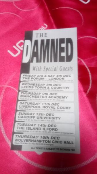 激レア The Damned UK tour チラシ