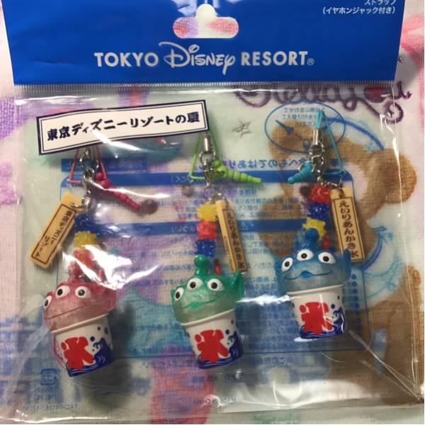 東京ディズニーリゾート2017年夏祭り限定 トイ・ストーリー リトルグリーンメン かき氷ストラップセット 新品 ディズニーグッズの画像