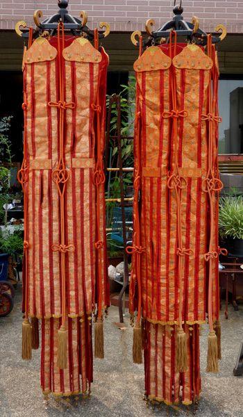 【桜】寺院仏具 金襴製 幢幡一対 約220cm/仏閣 荘厳 和幡