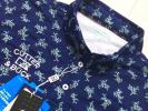 新品◆カッター&バック フラワープリント 吸水速乾 半袖ポロシャツ/紺/サイズL