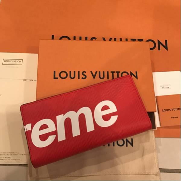 1円スタート!貴重品!Louis Vuitton x Supreme長財布 レッド