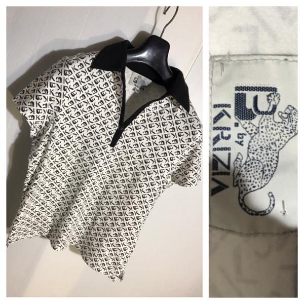 B. by KRIZIA クリッツィア ジュバンス & グレイスシルバー 総柄 ロゴ デザイン 半袖 ポロシャツ M 白 ホワイト × 黒 ブラック