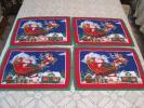 季節, 年中行事 - XMAS クリスマス ハンドメイド キルティング ソリに乗っておもちゃを運ぶサンタさん トナカイ 街の雪景色 プレイスマット4枚セット