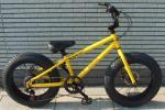 20インチBMX!前後ディスクブレーキ!イエロー♠FATBIKEファットバイク buggs-bikeバグスバイクビーチクルーザー 変速 ミニ