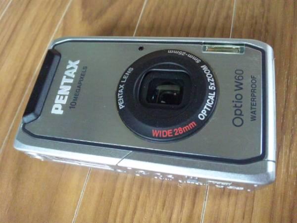 PENTAX ペンタックス コンパクト デジタルカメラ Optio W60 オプティオ シルバー 防水&防塵設計 ワイド28mm広角レンズ 防水デジカメ 美品