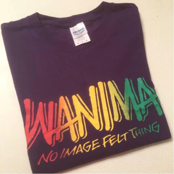 WANIMA ロゴTシャツ パープル×ラスタ Mサイズ ワニマ ピザロゴ PIZZA OF DEATH☆ ライブグッズの画像
