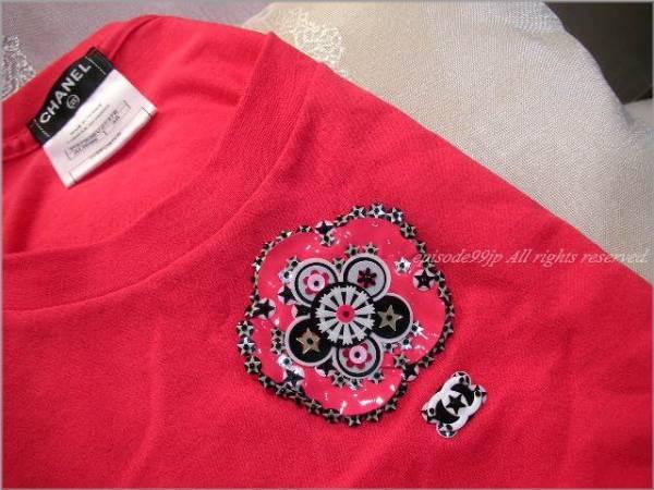 超美品 シャネル * CCカメリア刺繍 ビジュー装飾 可愛い綿Tシャツ 赤 46
