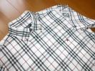 美品  バーバリーブラックレーベル 半袖シャツ  白ノバチェック ホース刺繍  サイズ3 ボタンダウン