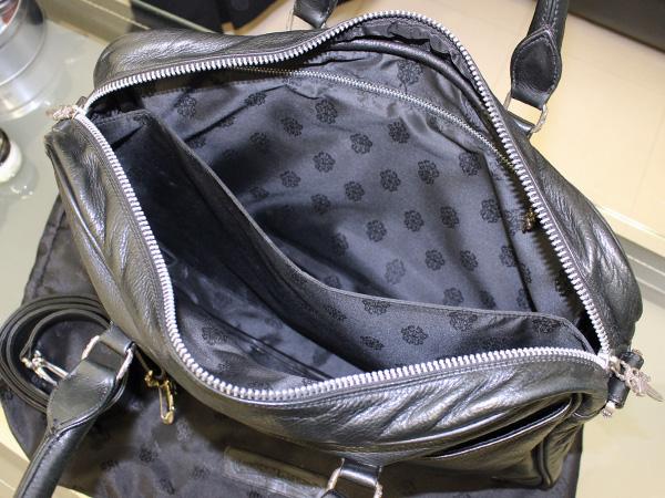 本物 クロムハーツ 国内定価691,200円 斜め掛けストラップ付きヘビーレザーフレアニーメンズビジネスバッグ 黒 ブラック 書類バッグ 正規品
