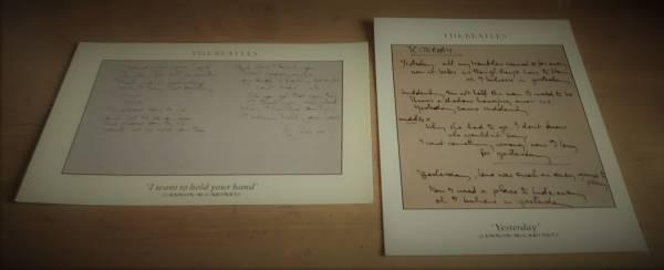 最終在庫! 大英図書館 展示 「 Yesterday」「 抱きしめたい 」原詩カードボード w/ 「秘蔵コレクションとその歴史」