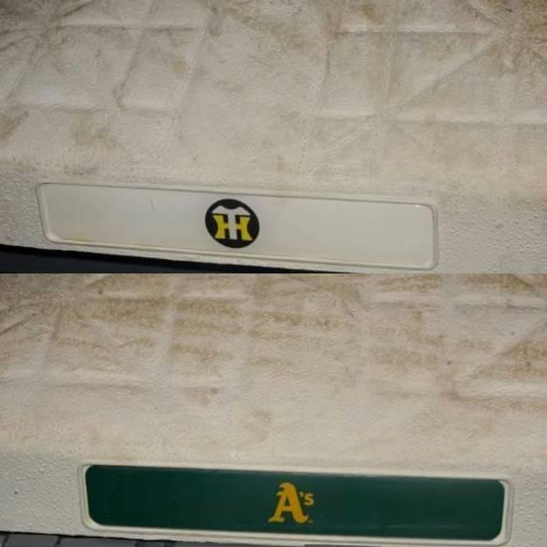 2008年3月23日 オークランド・アスレチックス vs 阪神タイガース 実使用1塁ベース MLB OPENING SERIES オープン戦 グッズの画像