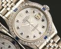 ◆ロレックス パーペチュアルデイトジャスト 1603 ホワイトMOP×10Pサファイア OH済 保証付◆