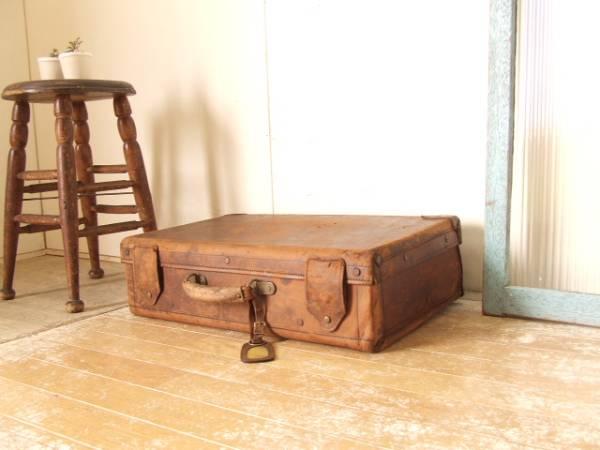 古い鍵付き革トランク④丸井今井 レザー アンティーク 鞄 ビンテージ モダン レトロ 送料無料