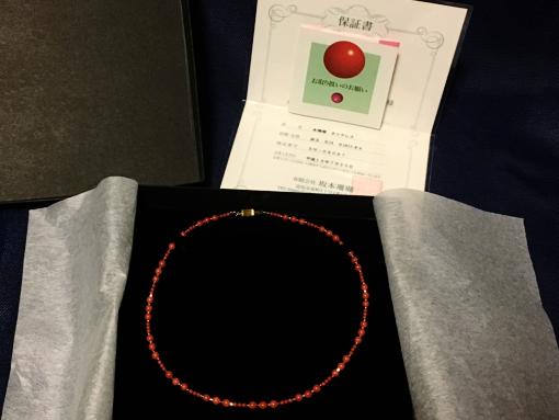 状態良好 本珊瑚ネックレス 赤玉 K14 K18 ミラーボール 14K刻印 最大約0.4mm玉 保証書付