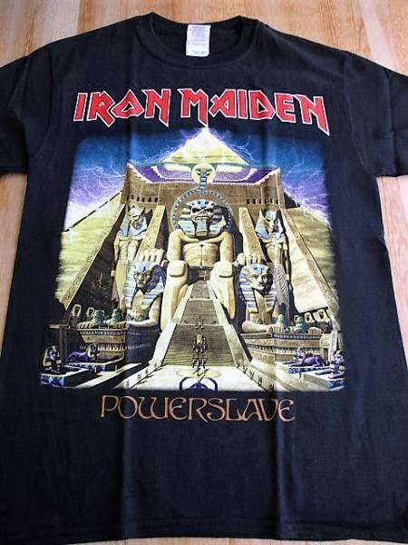 IRON MAIDEN Tシャツ powerslave パワースレイヴ 黒S アイアン・メイデン バックプリントあり / metallica motorhead