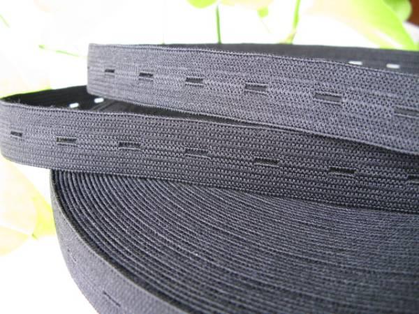 【新品】編み平ゴム/ボタンホールゴム/18mm/黒/15m/日本製_光の反射で白っぽく見えますが黒です