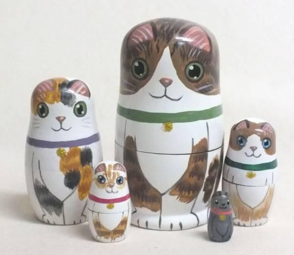 【猫のマトリョーシカ】 ★画家の手描きの作品★送料無料★