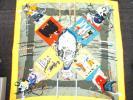 HERMES エルメス シルク100% スカーフ カレ 正方形 約90×90cm 大判 カーニバル 仮面 ピエロ ヨレ有 中古 kh01-500